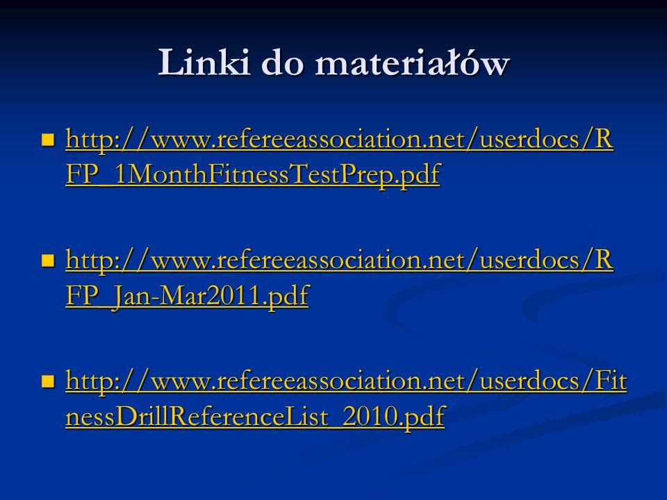 Linki do materiałów http://www.refereeassociation.net/userdocs/R FP_1MonthFitnessTestPrep.pdf http://www.refereeassociation.net/userdocs/R FP_1MonthFi