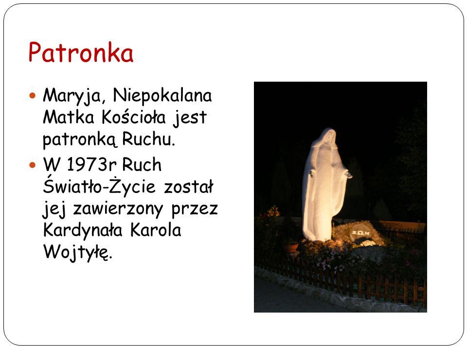 Patronka Maryja, Niepokalana Matka Kościoła jest patronką Ruchu. W 1973r Ruch Światło-Życie został jej zawierzony przez Kardynała Karola Wojtyłę.