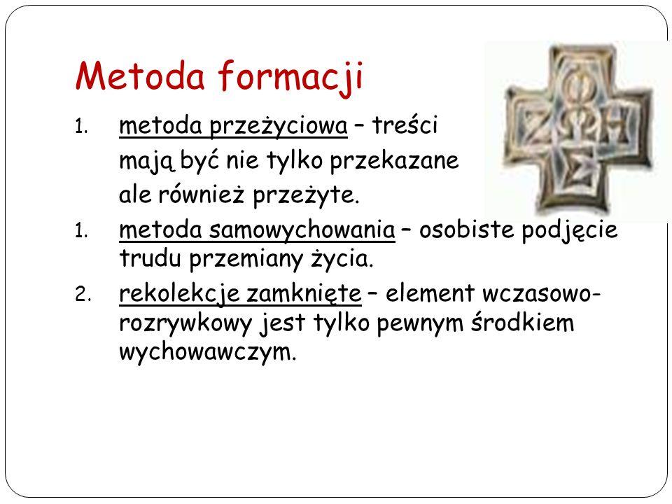 Metoda formacji 1. metoda przeżyciowa – treści mają być nie tylko przekazane ale również przeżyte. 1. metoda samowychowania – osobiste podjęcie trudu
