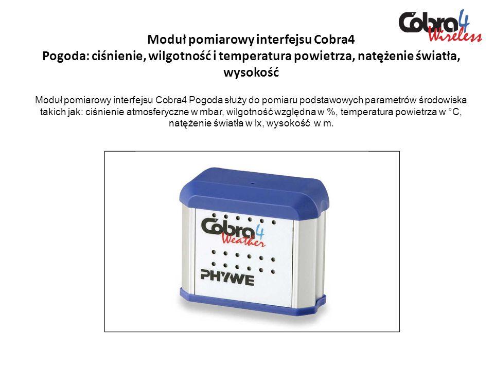 Moduł pomiarowy interfejsu Cobra4 Pogoda: ciśnienie, wilgotność i temperatura powietrza, natężenie światła, wysokość Moduł pomiarowy interfejsu Cobra4