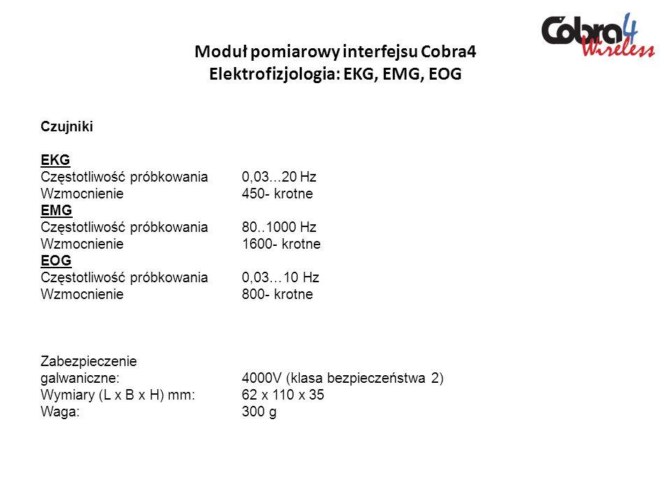 Moduł pomiarowy interfejsu Cobra4 Elektrofizjologia: EKG, EMG, EOG Czujniki EKG Częstotliwość próbkowania0,03...20 Hz Wzmocnienie450- krotne EMG Częst