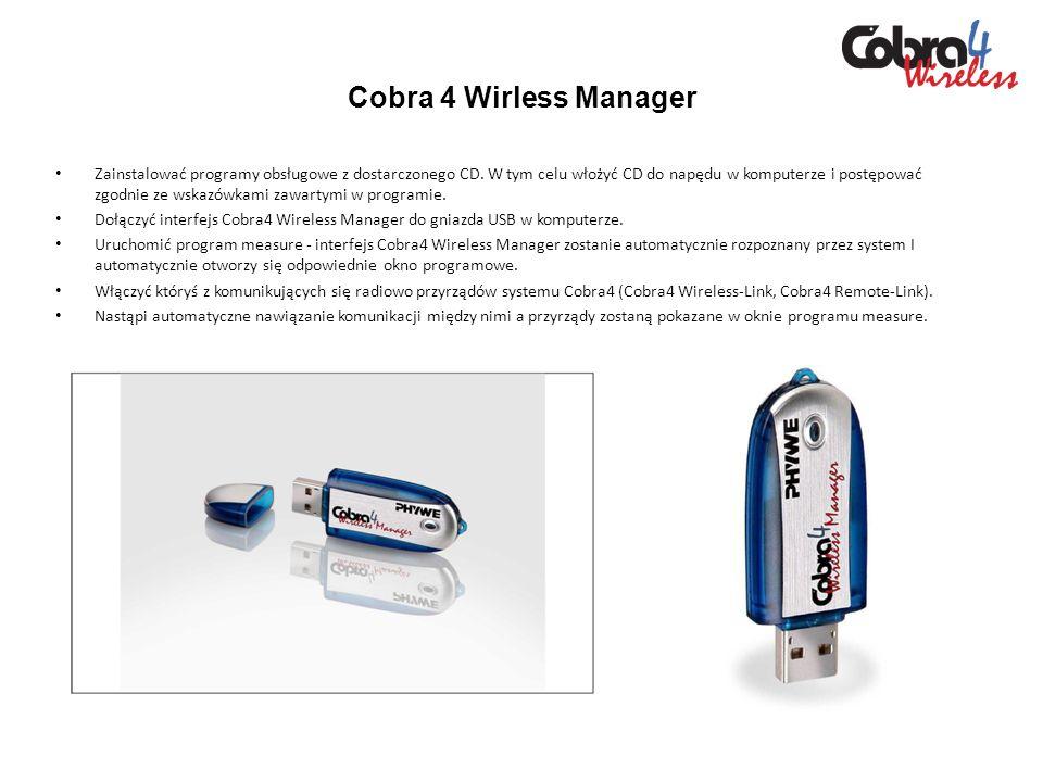 Cobra 4 Wirless Manager Zainstalować programy obsługowe z dostarczonego CD. W tym celu włożyć CD do napędu w komputerze i postępować zgodnie ze wskazó