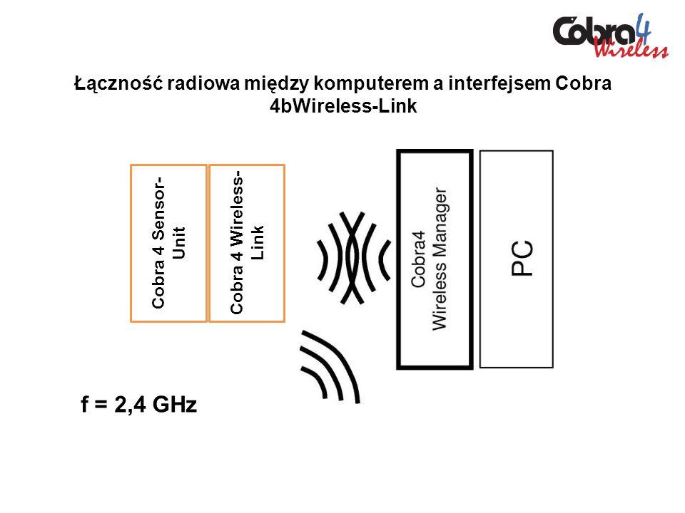 Łączność radiowa między komputerem a interfejsem Cobra 4bWireless-Link Cobra 4 Wireless- Link Cobra 4 Sensor- Unit f = 2,4 GHz
