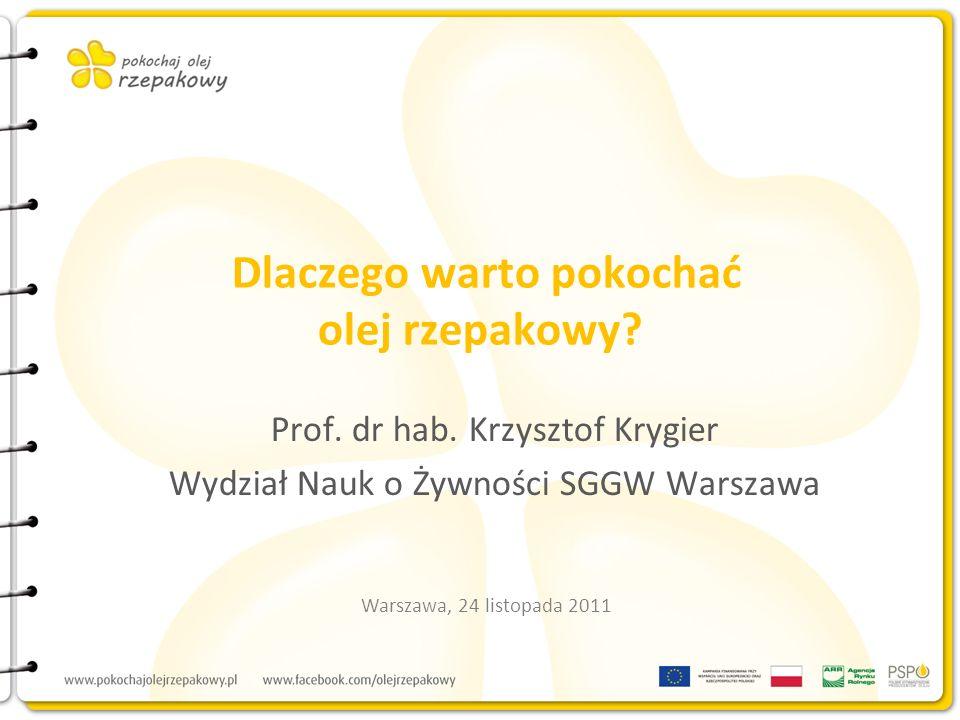Dlaczego warto pokochać olej rzepakowy? Prof. dr hab. Krzysztof Krygier Wydział Nauk o Żywności SGGW Warszawa Warszawa, 24 listopada 2011