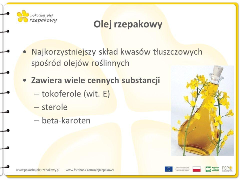 Olej rzepakowy Najkorzystniejszy skład kwasów tłuszczowych spośród olejów roślinnych Zawiera wiele cennych substancji –tokoferole (wit. E) –sterole –b