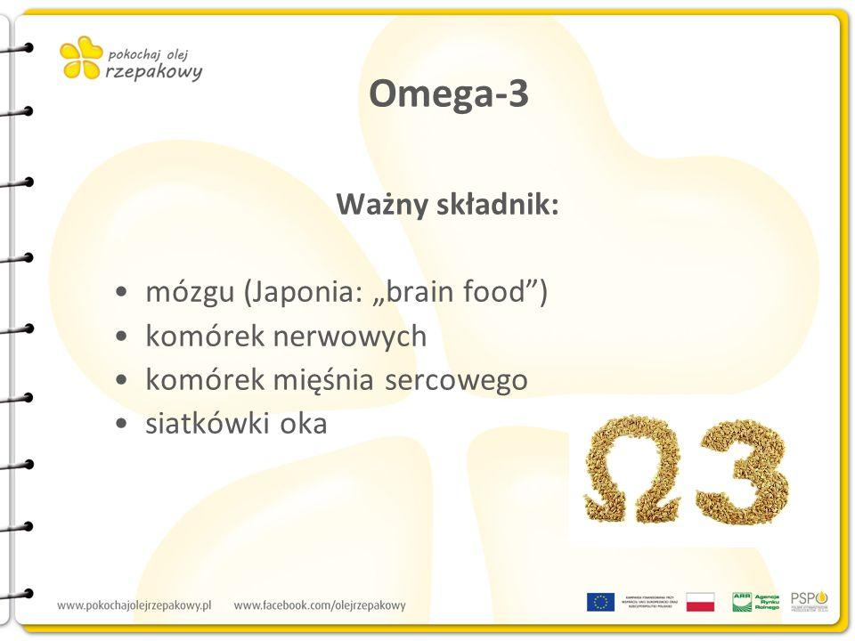 Omega-3 Ważny składnik: mózgu (Japonia: brain food) komórek nerwowych komórek mięśnia sercowego siatkówki oka
