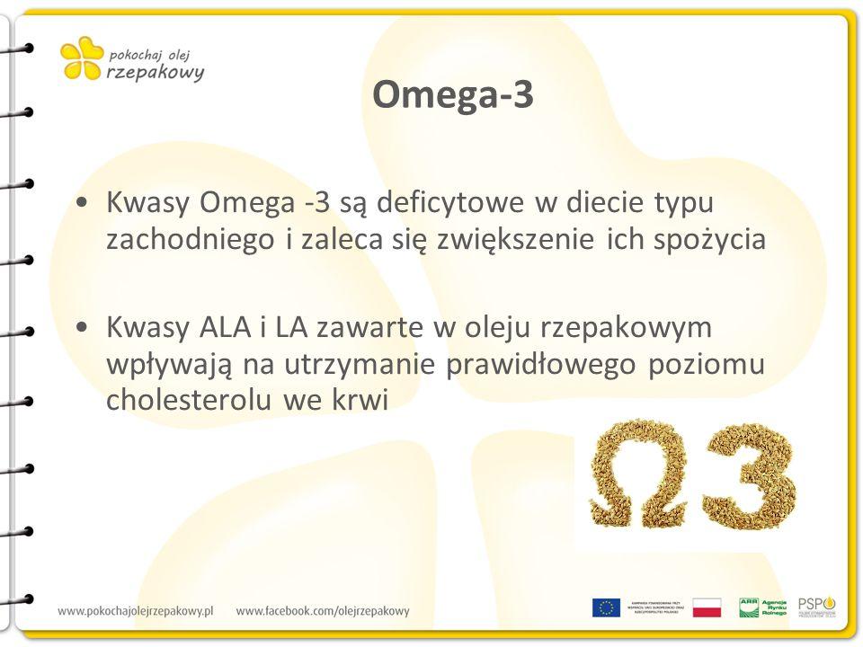 Omega-3 Kwasy Omega -3 są deficytowe w diecie typu zachodniego i zaleca się zwiększenie ich spożycia Kwasy ALA i LA zawarte w oleju rzepakowym wpływaj