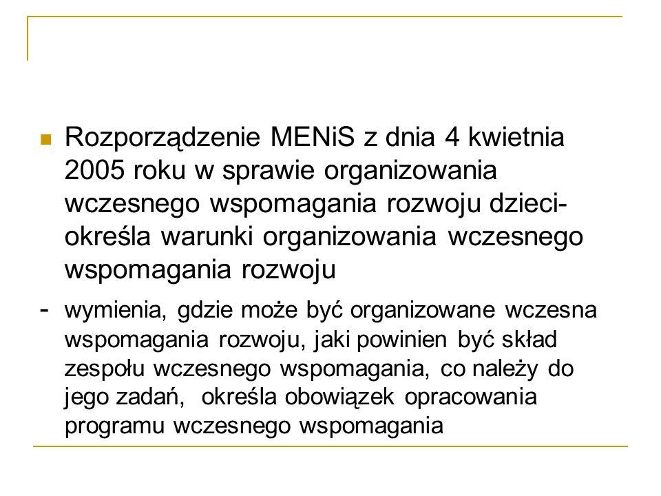 Rozporządzenie MENiS z dnia 4 kwietnia 2005 roku w sprawie organizowania wczesnego wspomagania rozwoju dzieci- określa warunki organizowania wczesnego
