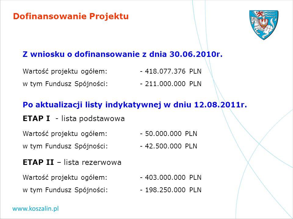 Dofinansowanie Projektu Z wniosku o dofinansowanie z dnia 30.06.2010r. Wartość projektu ogółem: - 418.077.376 PLN w tym Fundusz Spójności:- 211.000.00