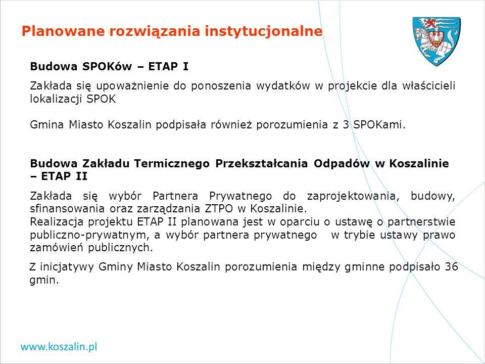 Planowane rozwiązania instytucjonalne Budowa SPOKów – ETAP I Zakłada się upoważnienie do ponoszenia wydatków w projekcie dla właścicieli lokalizacji S