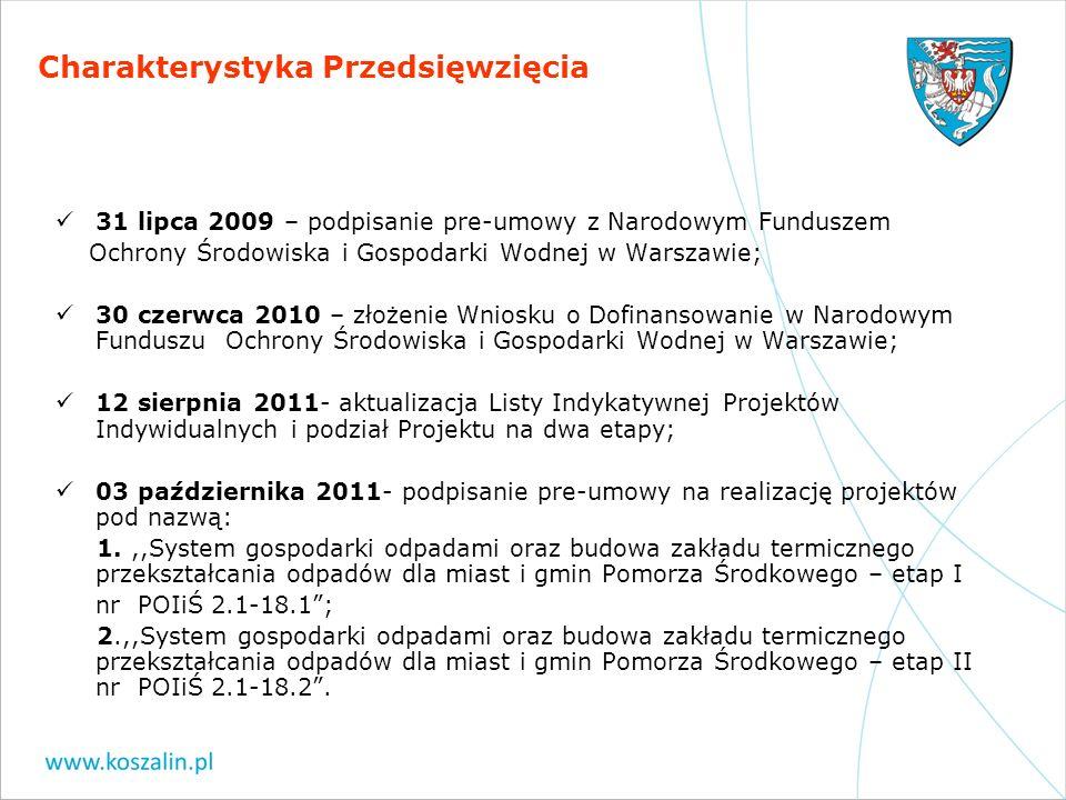 Charakterystyka Przedsięwzięcia 31 lipca 2009 – podpisanie pre-umowy z Narodowym Funduszem Ochrony Środowiska i Gospodarki Wodnej w Warszawie; 30 czer