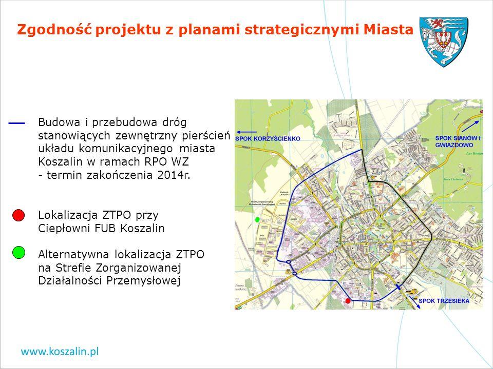 Zgodność projektu z planami strategicznymi Miasta Budowa i przebudowa dróg stanowiących zewnętrzny pierścień układu komunikacyjnego miasta Koszalin w