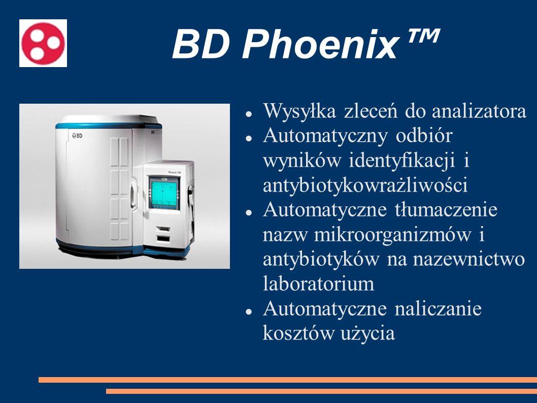 BD Phoenix Wysyłka zleceń do analizatora Automatyczny odbiór wyników identyfikacji i antybiotykowrażliwości Automatyczne tłumaczenie nazw mikroorganiz
