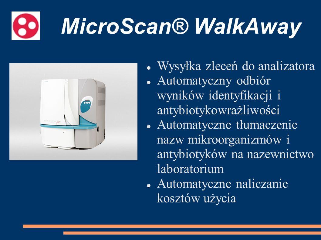 MicroScan® WalkAway Wysyłka zleceń do analizatora Automatyczny odbiór wyników identyfikacji i antybiotykowrażliwości Automatyczne tłumaczenie nazw mik