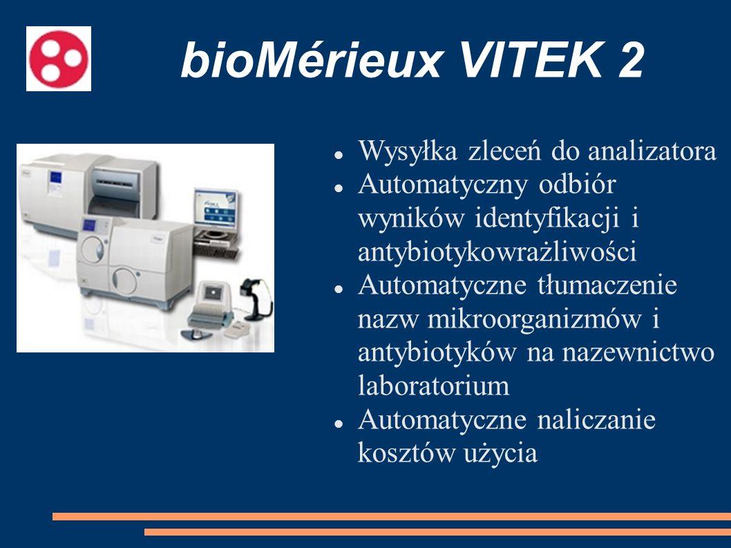 bioMérieux VITEK 2 Wysyłka zleceń do analizatora Automatyczny odbiór wyników identyfikacji i antybiotykowrażliwości Automatyczne tłumaczenie nazw mikr