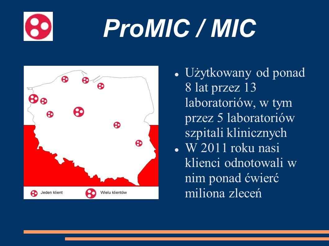 Użytkowany od ponad 8 lat przez 13 laboratoriów, w tym przez 5 laboratoriów szpitali klinicznych W 2011 roku nasi klienci odnotowali w nim ponad ćwier