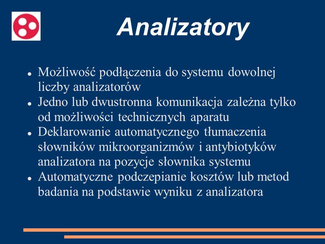 Analizatory Możliwość podłączenia do systemu dowolnej liczby analizatorów Jedno lub dwustronna komunikacja zależna tylko od możliwości technicznych ap