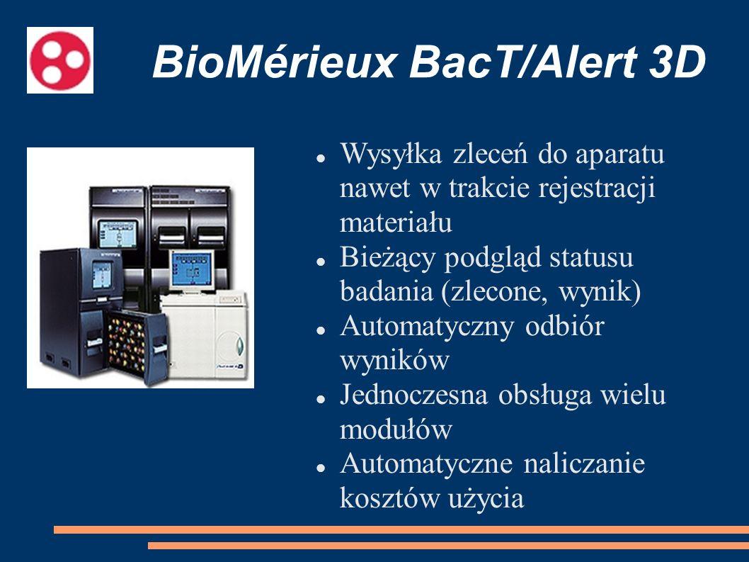 BioMérieux BacT/Alert 3D Wysyłka zleceń do aparatu nawet w trakcie rejestracji materiału Bieżący podgląd statusu badania (zlecone, wynik) Automatyczny