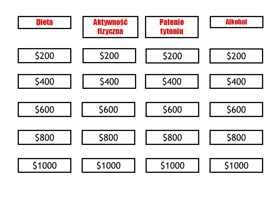 Kategoria 3 $800- Odpowiedź ASK (PYTAJ) – systematycznie i przy każdej możliwej okazji identyfikuj wszystkich palaczy tytoniu ASSESS (PRZEPROWADŹ OCENĘ) – określ stopień uzależnienia danej osoby i jej/jego gotowość do rzucenia palenia ADVISE (PORADŹ) – jednoznacznie naciskaj na palaczy tytoniu, aby rzucili palenie ASSIST (POMAGAJ) – zgódź się na strategię rzucania palenia, obejmującą poradnictwo w kwestiach behawioralnych, nikotynową terapię zastępczą i/lub leczenie farmakologiczne ARRANGE (PLANUJ) – ustal plan wizyt kontrolnych Ref.