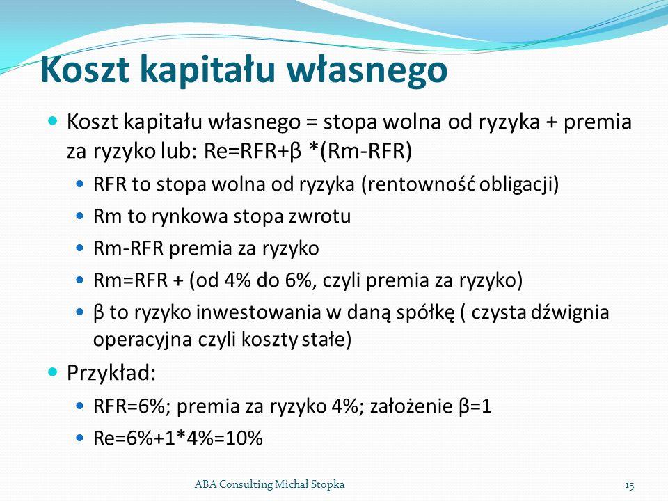 Koszt kapitału własnego Koszt kapitału własnego = stopa wolna od ryzyka + premia za ryzyko lub: Re=RFR+β *(Rm-RFR) RFR to stopa wolna od ryzyka (rento