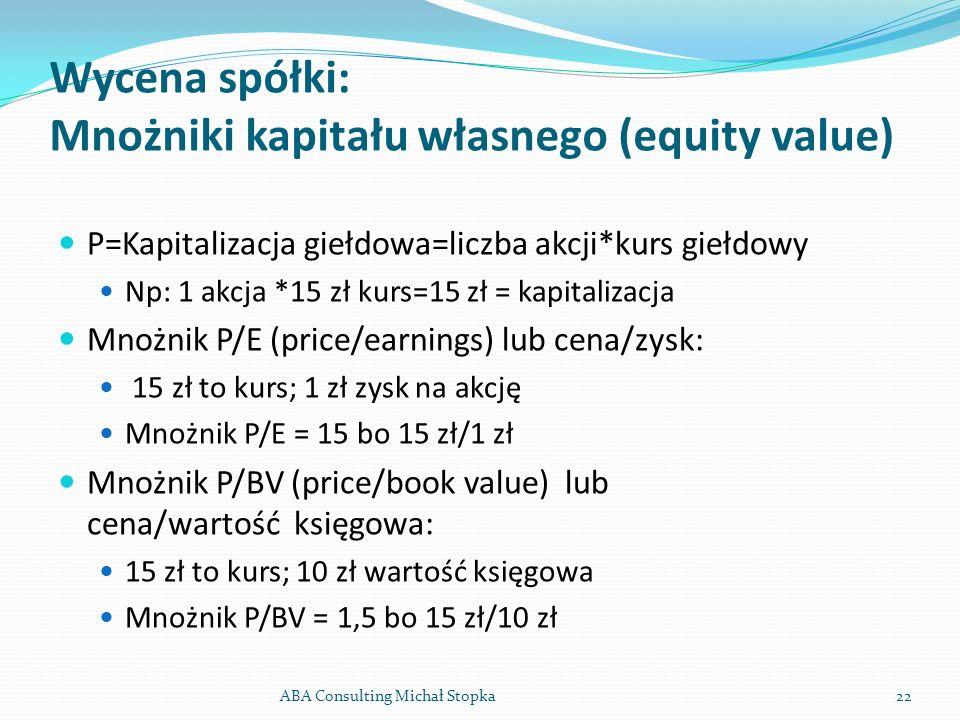 Wycena spółki: Mnożniki kapitału własnego (equity value) P=Kapitalizacja giełdowa=liczba akcji*kurs giełdowy Np: 1 akcja *15 zł kurs=15 zł = kapitaliz