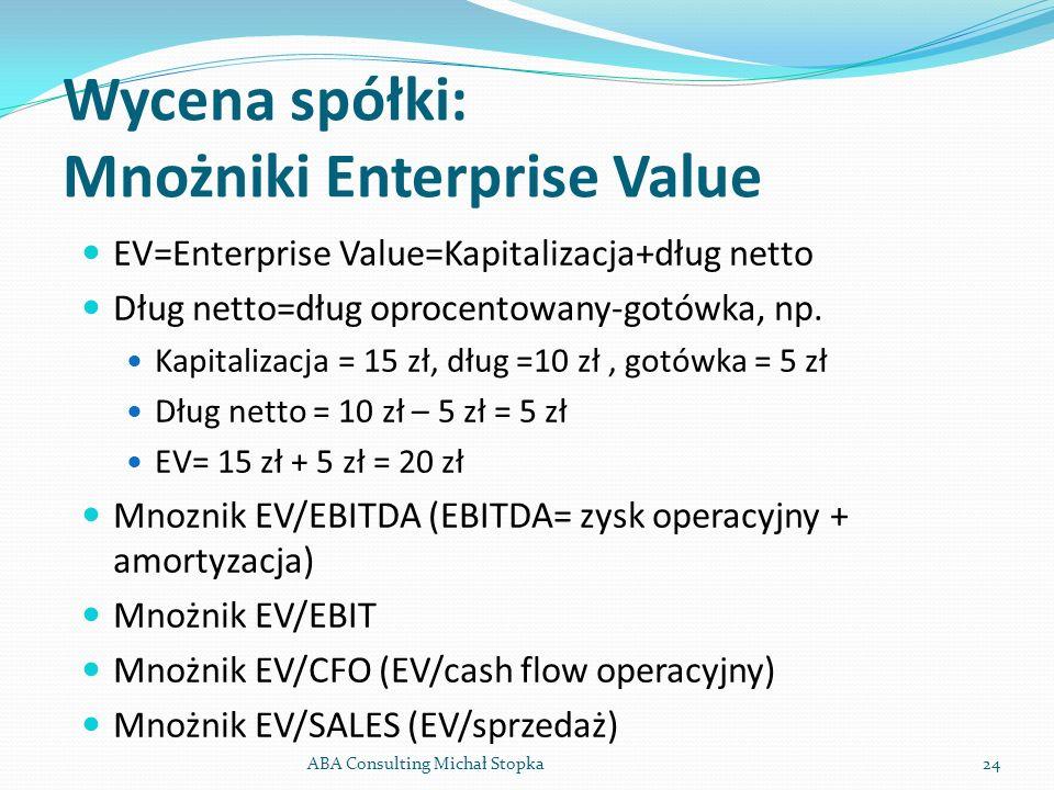 Wycena spółki: Mnożniki Enterprise Value EV=Enterprise Value=Kapitalizacja+dług netto Dług netto=dług oprocentowany-gotówka, np. Kapitalizacja = 15 zł