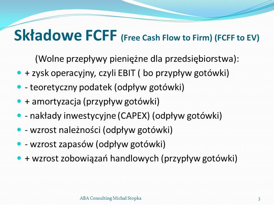 Składowe FCFF (Free Cash Flow to Firm) (FCFF to EV) (Wolne przepływy pieniężne dla przedsiębiorstwa): + zysk operacyjny, czyli EBIT ( bo przypływ gotó
