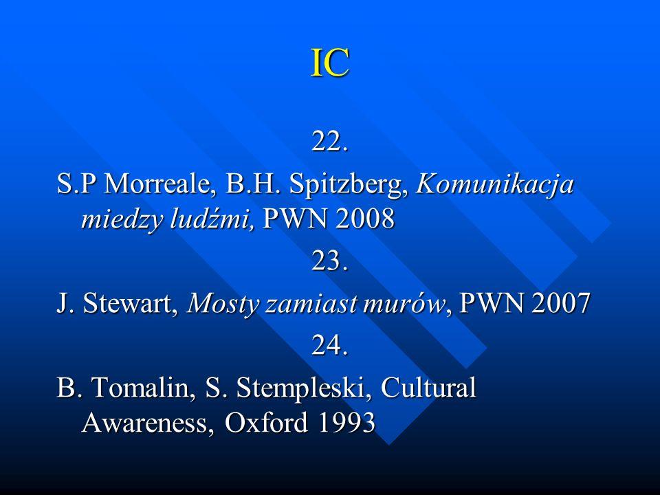 IC 22. S.P Morreale, B.H. Spitzberg, Komunikacja miedzy ludźmi, PWN 2008 23. J. Stewart, Mosty zamiast murów, PWN 2007 24. B. Tomalin, S. Stempleski,