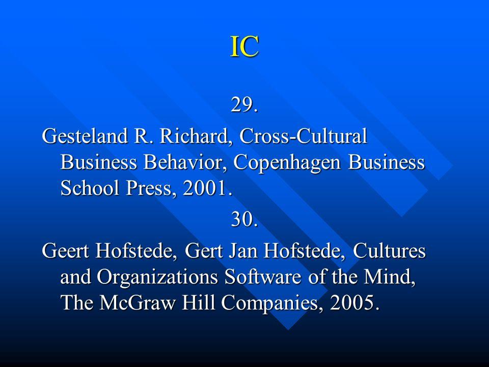 IC 29. Gesteland R. Richard, Cross-Cultural Business Behavior, Copenhagen Business School Press, 2001. 30. Geert Hofstede, Gert Jan Hofstede, Cultures