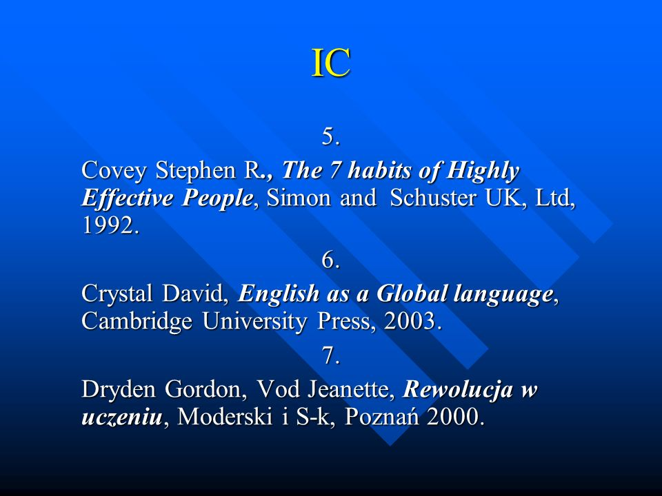 IC 5. Covey Stephen R., The 7 habits of Highly Effective People, Simon and Schuster UK, Ltd, 1992. 6. Crystal David, English as a Global language, Cam