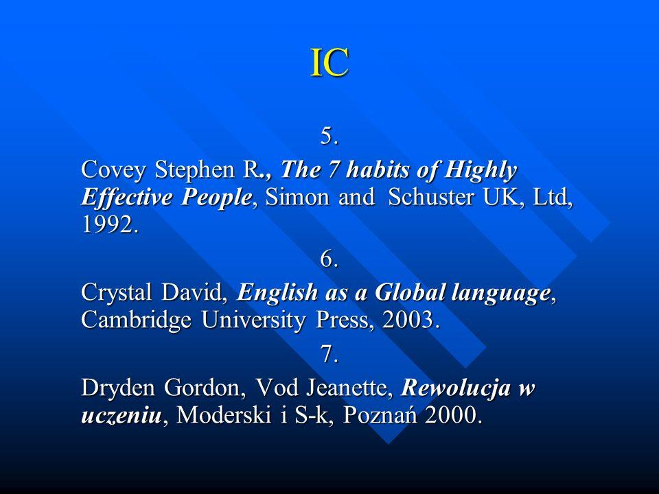 IC 8.Goleman Daniel, Inteligencja emocjonalna w praktyce, Media Rodzina, 1999.