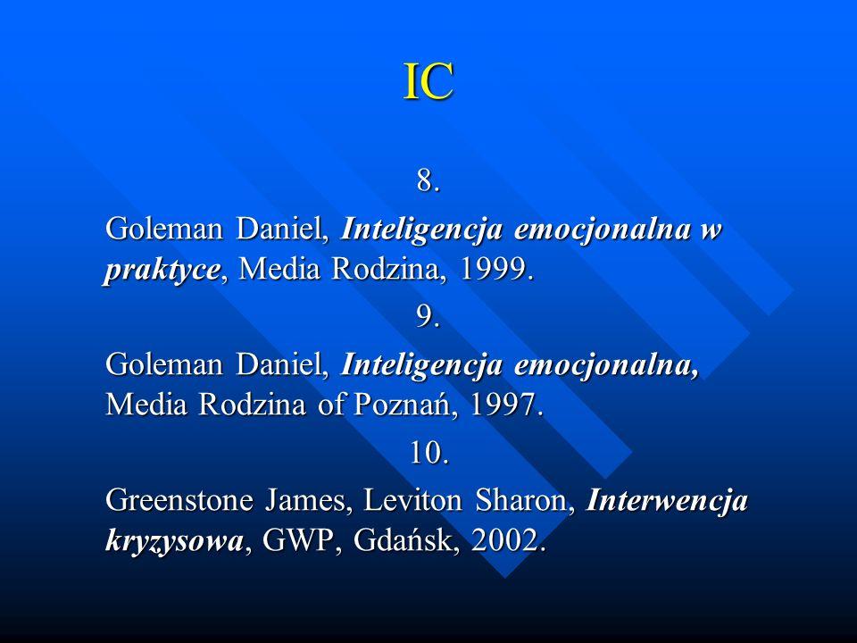 IC 8. Goleman Daniel, Inteligencja emocjonalna w praktyce, Media Rodzina, 1999. 9. Goleman Daniel, Inteligencja emocjonalna, Media Rodzina of Poznań,