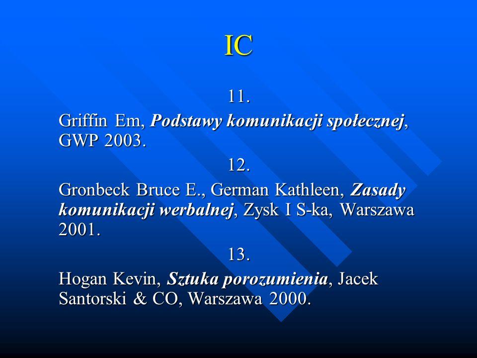 IC 11. Griffin Em, Podstawy komunikacji społecznej, GWP 2003. 12. Gronbeck Bruce E., German Kathleen, Zasady komunikacji werbalnej, Zysk I S-ka, Warsz