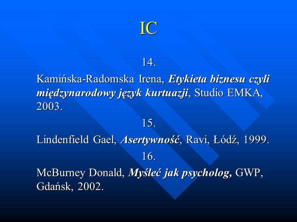 IC 14. Kamińska-Radomska Irena, Etykieta biznesu czyli międzynarodowy język kurtuazji, Studio EMKA, 2003. 15. Lindenfield Gael, Asertywność, Ravi, Łód
