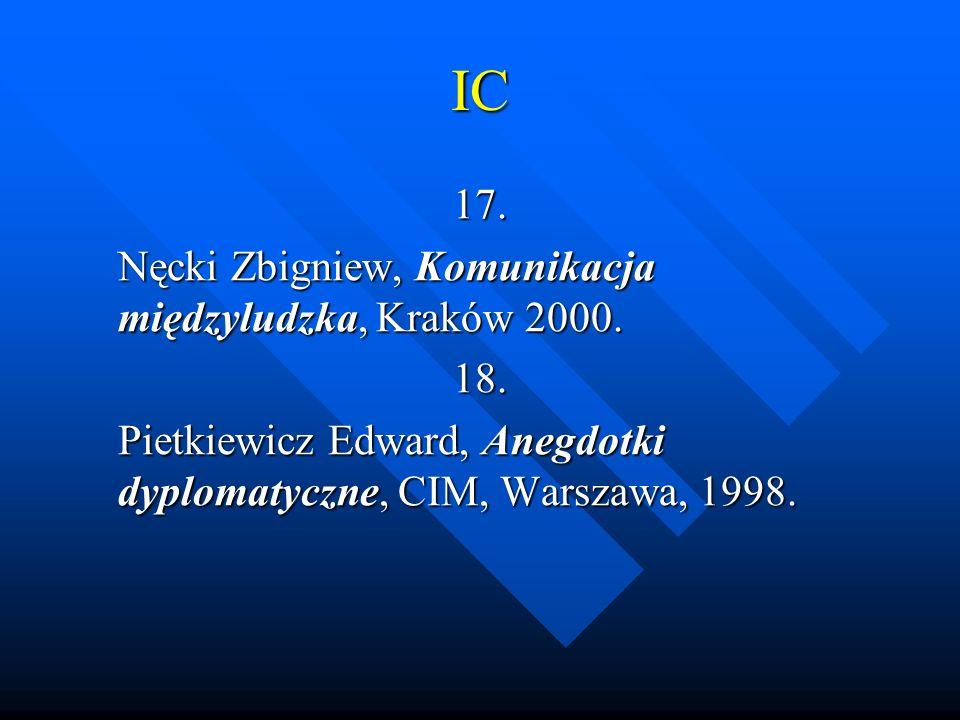 IC 17. Nęcki Zbigniew, Komunikacja międzyludzka, Kraków 2000. 18. Pietkiewicz Edward, Anegdotki dyplomatyczne, CIM, Warszawa, 1998.