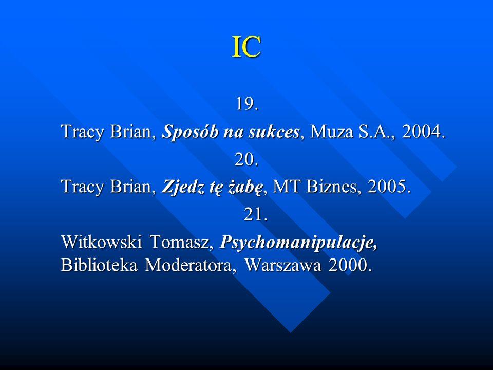 IC 19. Tracy Brian, Sposób na sukces, Muza S.A., 2004. 20. Tracy Brian, Zjedz tę żabę, MT Biznes, 2005. 21. Witkowski Tomasz, Psychomanipulacje, Bibli