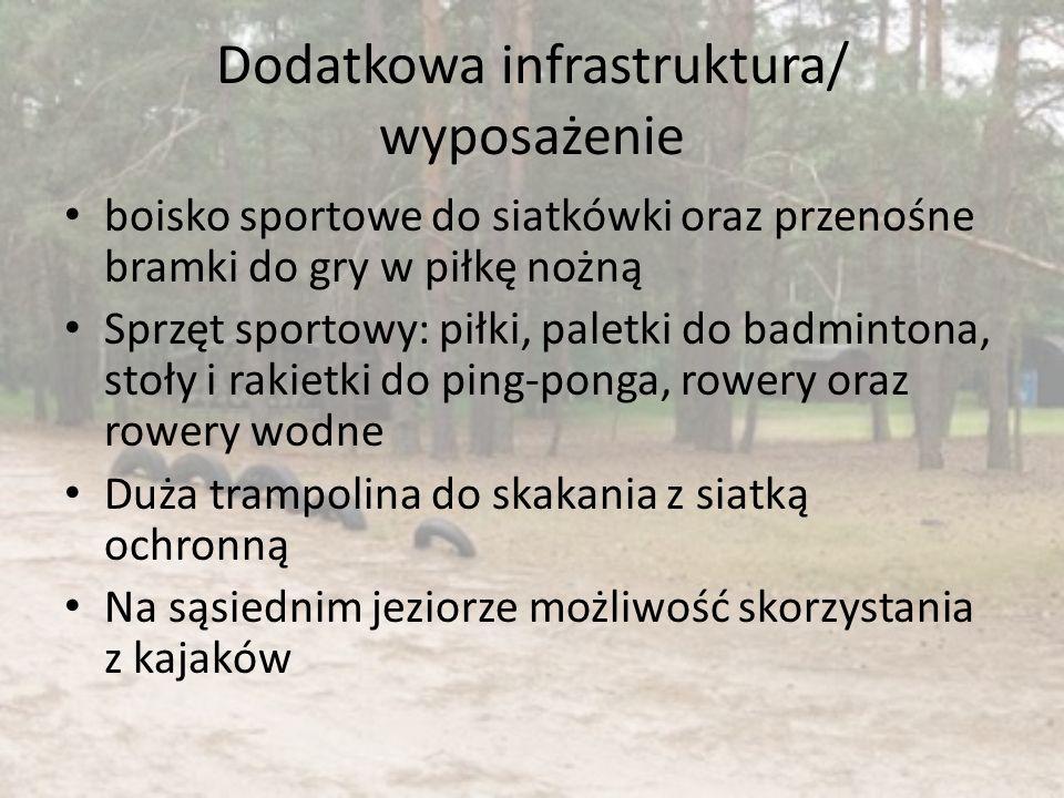 Dodatkowa infrastruktura/ wyposażenie boisko sportowe do siatkówki oraz przenośne bramki do gry w piłkę nożną Sprzęt sportowy: piłki, paletki do badmi