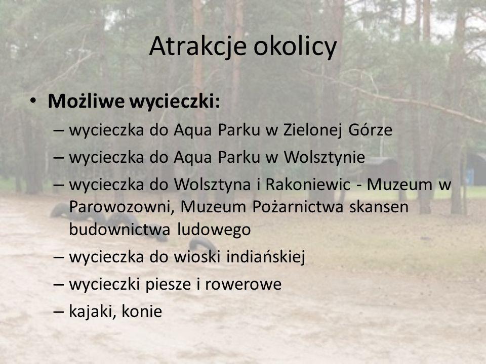 Atrakcje okolicy Możliwe wycieczki: – wycieczka do Aqua Parku w Zielonej Górze – wycieczka do Aqua Parku w Wolsztynie – wycieczka do Wolsztyna i Rakon