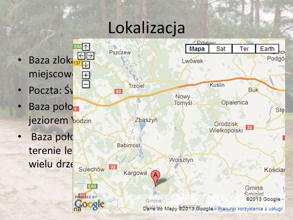 Lokalizacja Baza zlokalizowana w miejscowości Wilcze Poczta: Świętno Baza położona nad jeziorem Wuszno Baza położona na terenie leśnym, wśród wielu dr