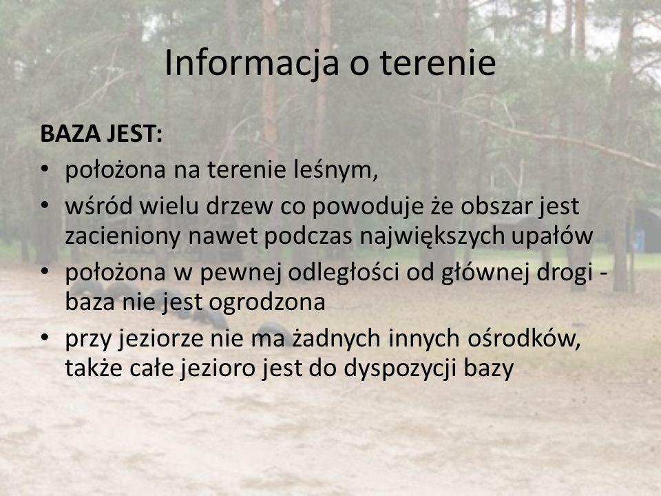 Informacja o terenie BAZA JEST: położona na terenie leśnym, wśród wielu drzew co powoduje że obszar jest zacieniony nawet podczas największych upałów