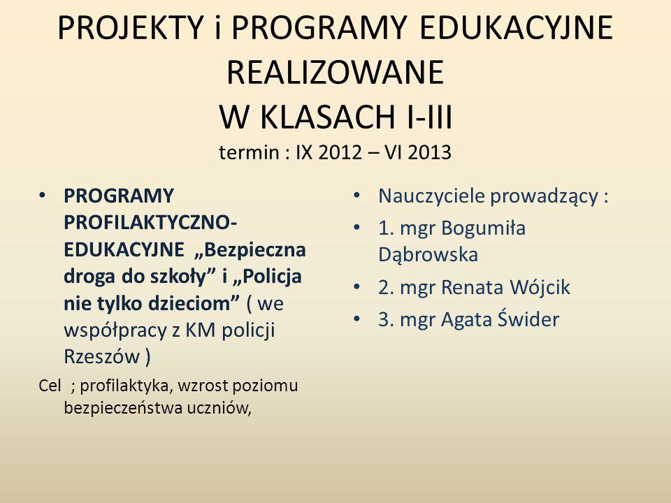PROJEKTY i PROGRAMY EDUKACYJNE REALIZOWANE W KLASACH I-III termin : IX 2012 – VI 2013 PROGRAMY PROFILAKTYCZNO- EDUKACYJNE Bezpieczna droga do szkoły i