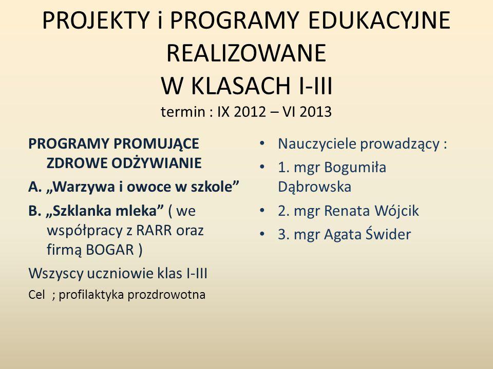 PROJEKTY i PROGRAMY EDUKACYJNE REALIZOWANE W KLASACH I-III termin : IX 2012 – VI 2013 PROGRAMY PROMUJĄCE ZDROWE ODŻYWIANIE A. Warzywa i owoce w szkole