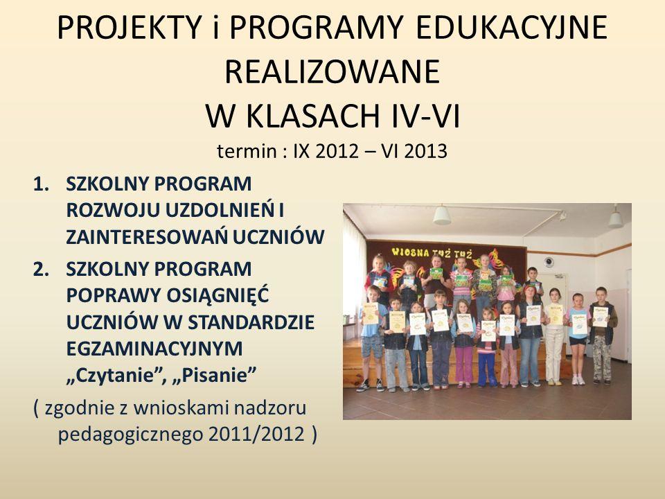 PROJEKTY i PROGRAMY EDUKACYJNE REALIZOWANE W KLASACH IV-VI termin : IX 2012 – VI 2013 1.SZKOLNY PROGRAM ROZWOJU UZDOLNIEŃ I ZAINTERESOWAŃ UCZNIÓW 2.SZ