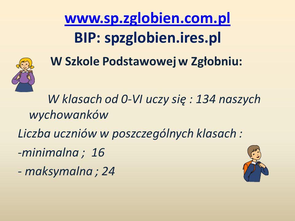 www.sp.zglobien.com.pl BIP: spzglobien.ires.pl W Szkole Podstawowej w Zgłobniu: W klasach od 0-VI uczy się : 134 naszych wychowanków Liczba uczniów w