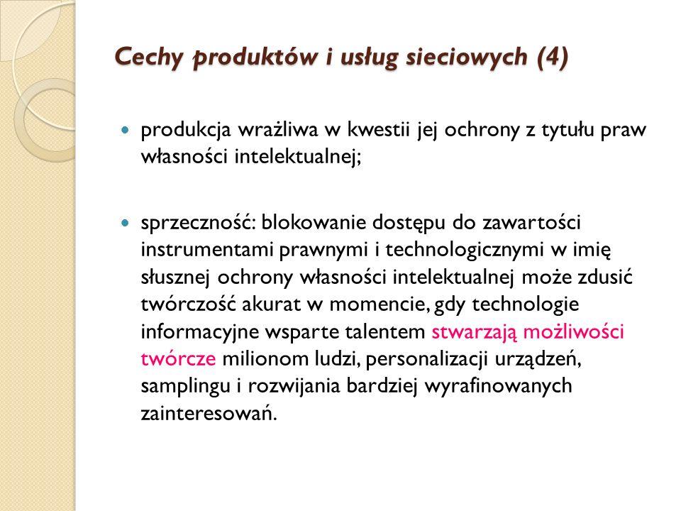 Cechy produktów i usług sieciowych (3) Prawo Metcalfa: potęgowy rozkład relacji w sieci. Im więcej użytkowników - tym większa szybkość przesyłania, ka