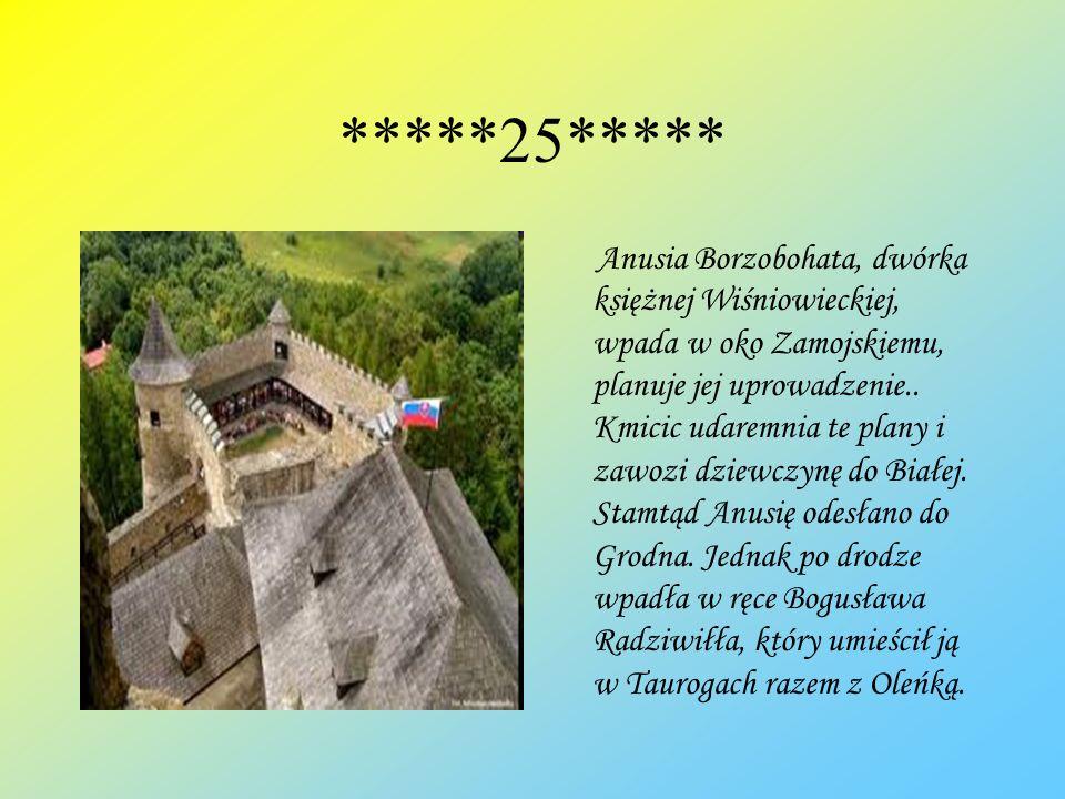 *****25***** Anusia Borzobohata, dwórka księżnej Wiśniowieckiej, wpada w oko Zamojskiemu, planuje jej uprowadzenie.. Kmicic udaremnia te plany i zawoz