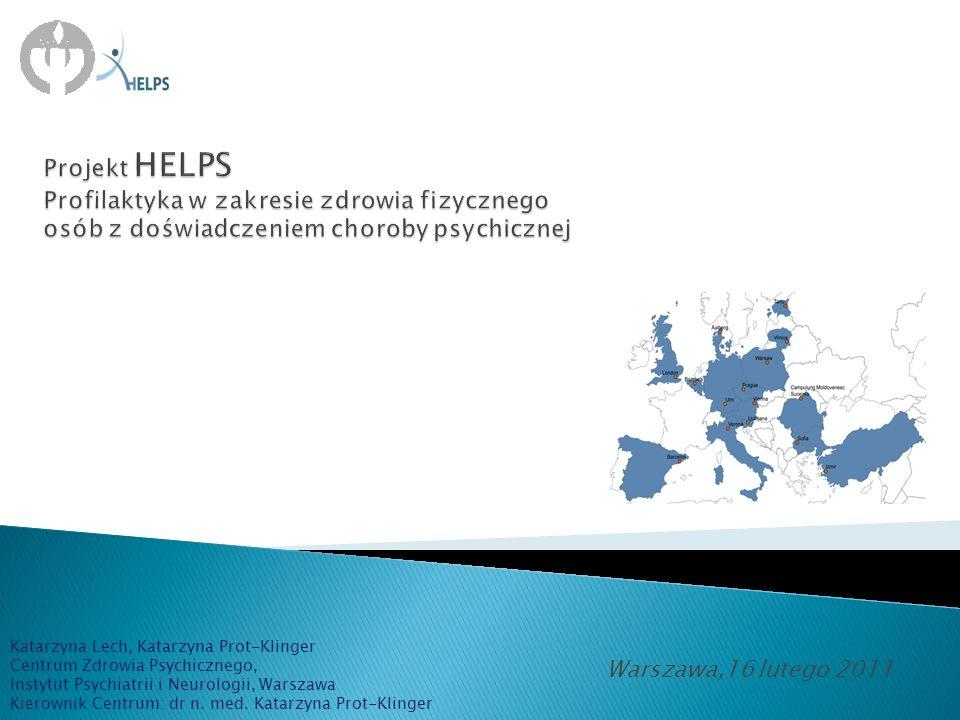 CEL PROJEKTU stworzenie jednolitego dla Europy schematu postępowania mającego na celu poprawę zdrowia fizycznego osób z doświadczeniem choroby psychicznej
