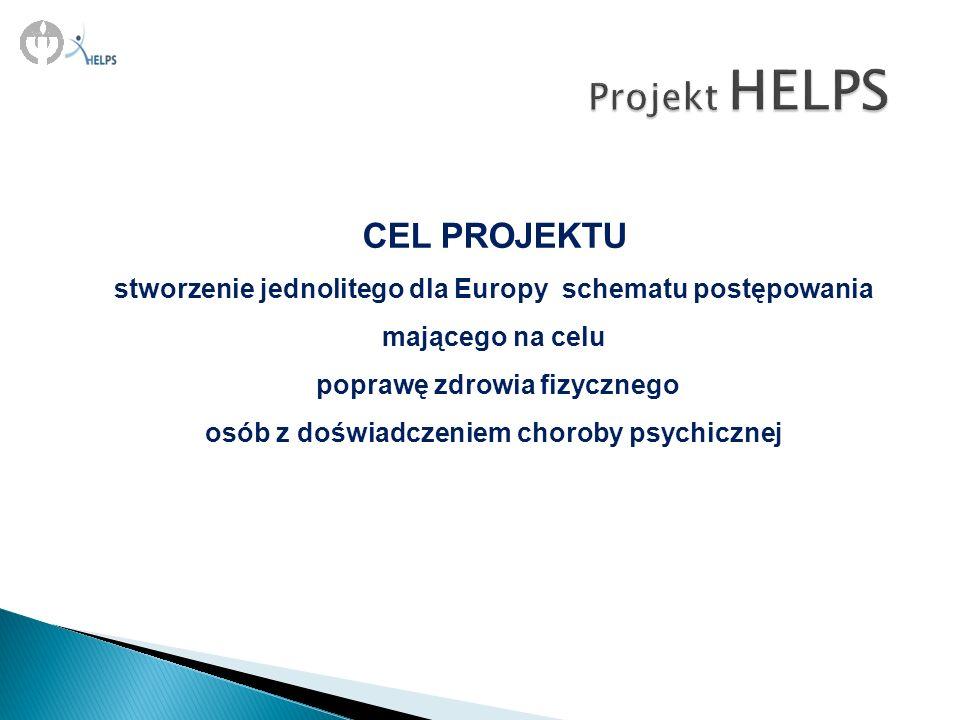 CEL PROJEKTU stworzenie jednolitego dla Europy schematu postępowania mającego na celu poprawę zdrowia fizycznego osób z doświadczeniem choroby psychic