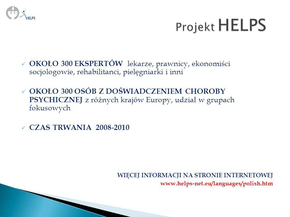 GRUPY FOKUSOWE KWESTIONARIUSZE DOLPHI Kategoryzacja wyłonionych obszarów badawczych za pomocą program MAXquda Zebranie wyników i tłumaczenie na język angielski Ustalenie dla Europy, pakietów postępowania w zakresie zdrowia fizycznego osób chorujących psychicznie Ustalenie dla Europy, pakietów postępowania w zakresie zdrowia fizycznego osób chorujących psychicznie PRZEGLĄD BADAŃ KRAJOWYCH Weryfikacja pakietów HELPS pod względem przydatności klinicznej w ośrodkach narodowych uczestniczących w badaniu Moderowana dyskusja grupy pacjentów lub grupy profesjonalistów utrwalana w formie audio Grupa ekspertów ustalająca konsensus rejestrowany w formie jednorodnego kwestionariusza SCHEMAT PROJEKTU HELPS