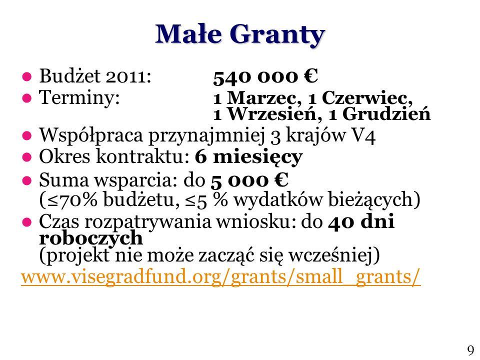Małe Granty Budżet 2011: 540 000 Terminy: 1 Marzec, 1 Czerwiec, 1 Wrzesień, 1 Grudzień Współpraca przynajmniej 3 krajów V4 Okres kontraktu: 6 miesięcy